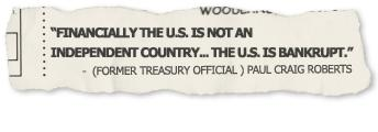 graphic image of a newspaper ad stating the government is bankrupt
